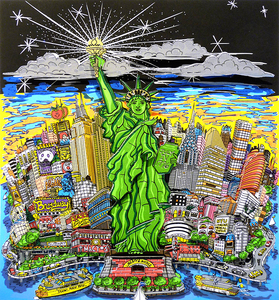 Charles FAZZINO - Grabado - Liberty and justice for all