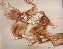 Claude WEISBUCH - Pintura - Combat avec l'Ange