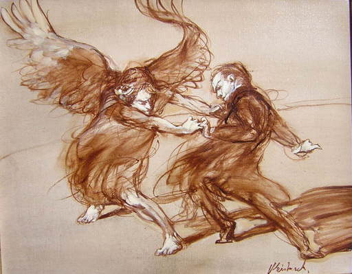 Claude WEISBUCH - Painting - Combat avec l'Ange
