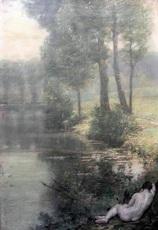 Auguste LEVEQUE - Painting - Symbolist landscape