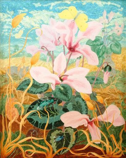 Elvic STEELE - Painting - Cyclamen in Summer