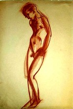 Boris Israelewitsch ANISFELD - Disegno Acquarello - Nude boy standing hunched