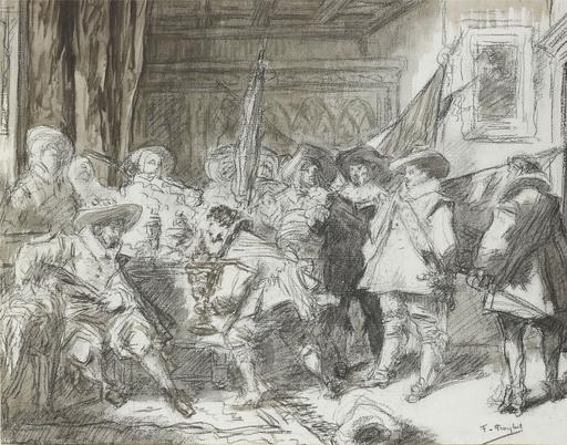 Ferdinand ROYBET - Drawing-Watercolor - Etude pour Les corporations