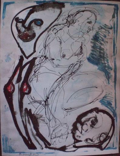 Bernard MOREL - Dibujo Acuarela - PEINTRE ET MODELE