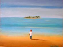 Fred ZELLER - Pittura - Jeune Fille en blanc face à l'île
