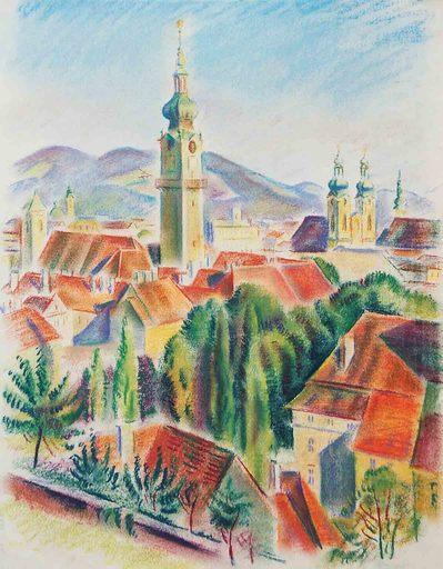 Theodor ALLESCH-ALESCHA - Dibujo Acuarela - Linzer Ansicht mit Kirchen