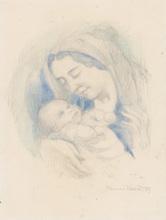 Maurice DENIS - Dessin-Aquarelle - Portrait d'Antoine Poncet dans les bras de sa mère Anne-Mari