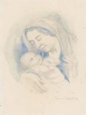 Maurice DENIS - Dibujo Acuarela - Portrait d'Antoine Poncet dans les bras de sa mère Anne-Mari