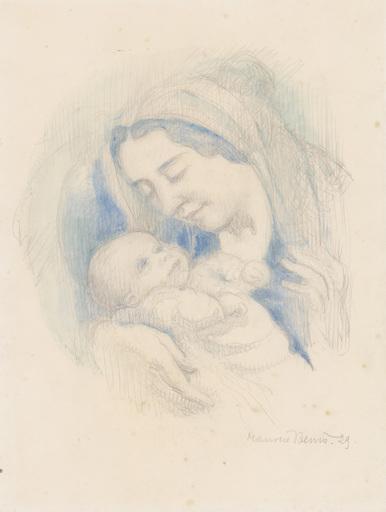 Maurice DENIS - Drawing-Watercolor - Portrait d'Antoine Poncet dans les bras de sa mère Anne-Mari