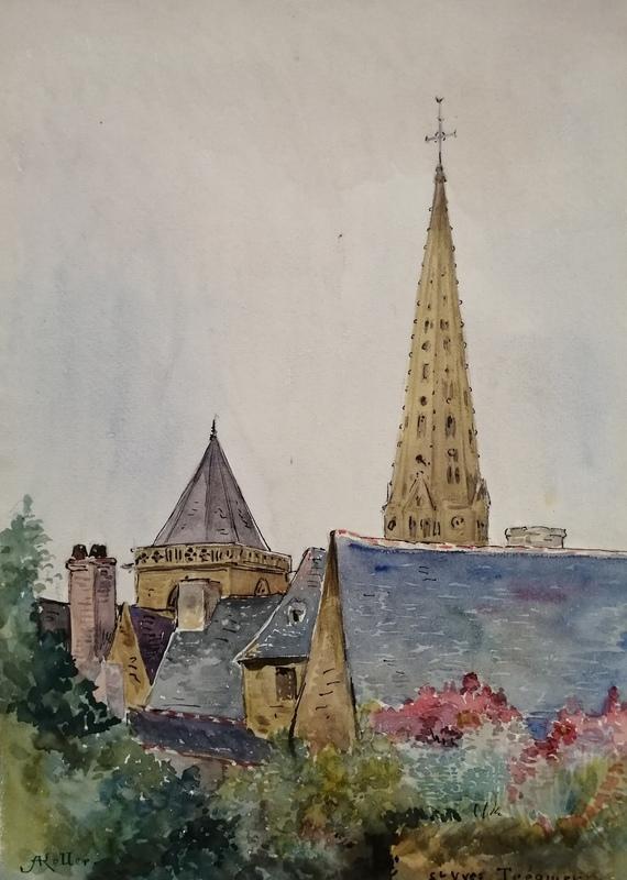 Alfred KELLER - Dibujo Acuarela - Trèguier - Saint Yves - Cotes d'Armor