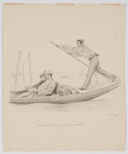"""Adolf GERINGER - Drawing-Watercolor - """"Ride in Gondola"""" by Adolf Geringer, 1897"""