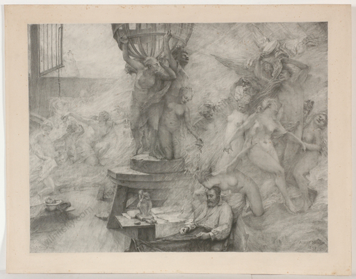 "Albert Pierre René MAIGNAN - Gemälde - ""Artist's Dream"", large lithograph, 1892"