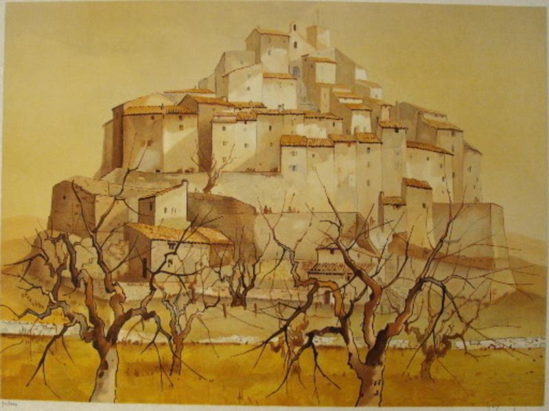 Guy SÉRADOUR - 版画 - Village de Haute Provence,1984.