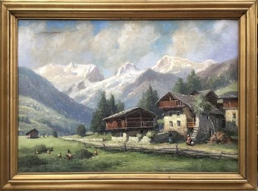 Ercole GARAVAGLIA - Pintura - Champoluc e il Ghiacciaio del Monte Rosa