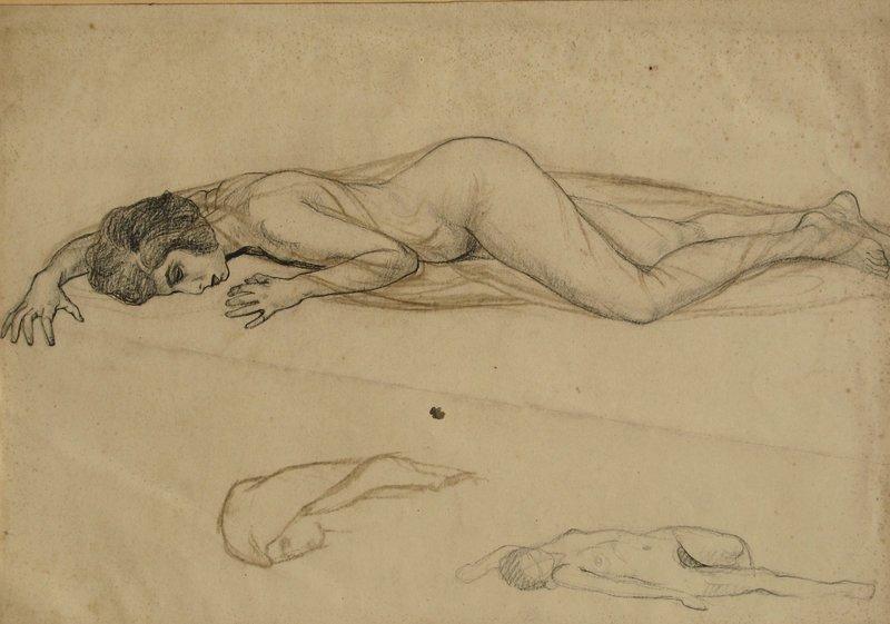 "Paul AUDRA - Drawing-Watercolor - ""ETUDE DE FEMME COUCHEE"""