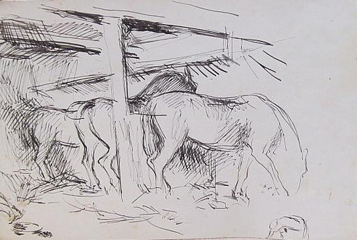 Erich HARTMANN - Disegno Acquarello - #19878: Pferde im Stall.