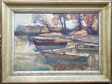 Max Robert THEYNET - Dessin-Aquarelle - Barques au bord du lac