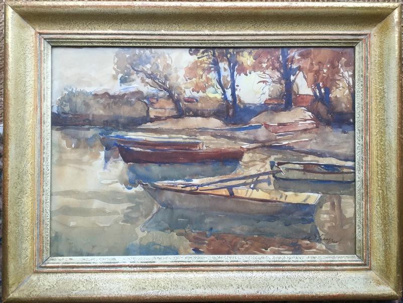 Max Robert THEYNET - 水彩作品 - Barques au bord du lac