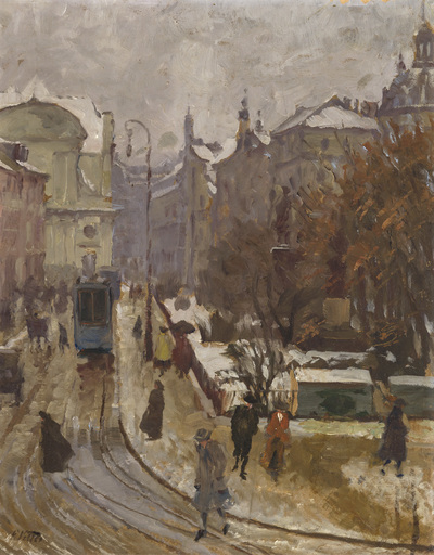 Charles VETTER - Peinture - Promenadenplatz im Winter