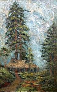 David BURLIUK - Gemälde - Japanese Forest Landscape.