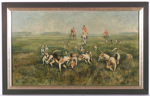 "Alfons PURTSCHER - Pittura -  ""Fox Hunting"", 1917, Oil/Canvas"