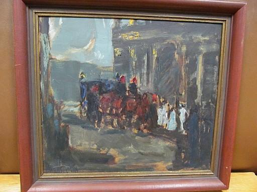 Albert E. HENSELMANN - Peinture - Kutsche vor Säulenportikus mit Figurenstaffage