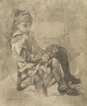 亨利•德•图卢兹-洛特雷克 - 水彩作品 - Mademoiselle Béatrix Tapié de Céleyran