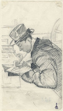 Libero ANDREOTTI - Dibujo Acuarela - PORTRAIT OF CELESTINO CELESTINI, DRAWING A PLATE FOR ETCHING