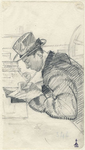 Libero ANDREOTTI - Drawing-Watercolor - PORTRAIT OF CELESTINO CELESTINI, DRAWING A PLATE FOR ETCHING