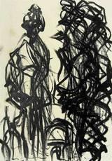 Max UHLIG - Drawing-Watercolor - Bäume und Tor am Palatino