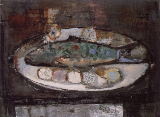Georges GOLDKORN - Peinture - Still life with fish
