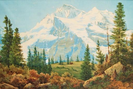 Frederick Casemero TERRY - Dibujo Acuarela - Paysage montagne Alpes Suisse. Swiss mountain