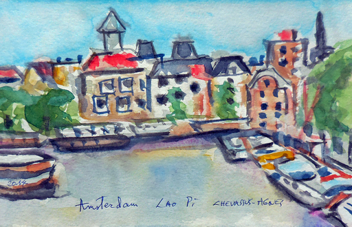 Jean-Pierre CHEVASSUS-AGNES - Drawing-Watercolor - promenade à AMSTERDAM (4)