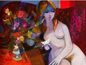 Camille HILAIRE - Pittura - Le Nu au Bouquet