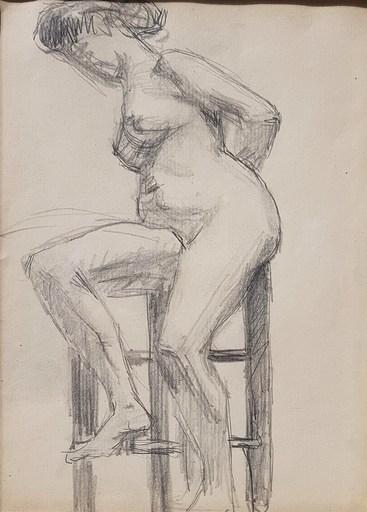 Albert MARQUET - Zeichnung Aquarell - Nu dans l'atelier