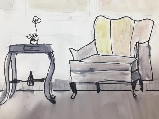 Alienor DE CELLÈS - Dessin-Aquarelle - Vieux fauteuil