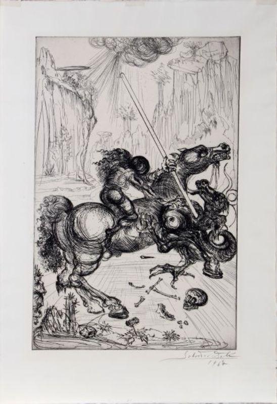 Salvador DALI - Estampe-Multiple - 1947 St. George and The Dragon