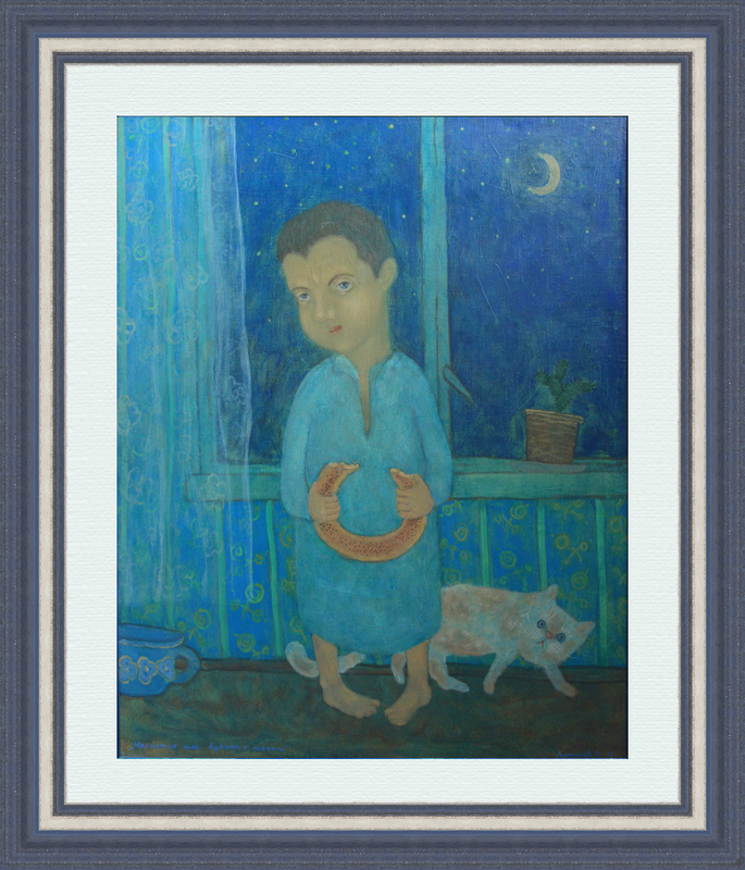 Roman ANTONOV - Peinture - Can't sleep or a bagle with poppy