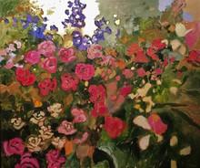 Claude A. SIMARD - Painting - Les vieux rosiers