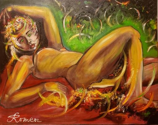 Romeo DOBROTA - Painting - Portrait woman nude