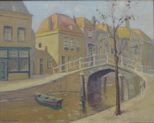 Hendrik VAN LEEUWEN - Pintura - Molensteegbrug bridge in Leiden