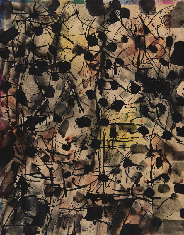 Jean-Paul RIOPELLE - Dessin-Aquarelle - Composition abstraite