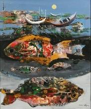 Jean CALOGERO - Pittura - Seascape under a Moonlit Sky