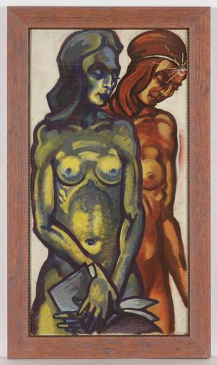 "Josef LACINA - Pintura - ""Day and Night"" tempera, ca. 1950"