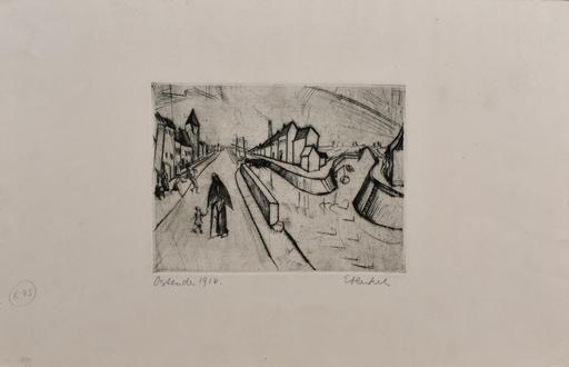 埃里希·黑克尔 - 版画 - Canal in Ostend | Kanal bei Ostende