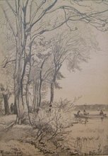 Johannes Theobald RIEFESELL - Dibujo Acuarela - Partie an der Alster