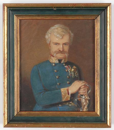 "Albert THEER - Drawing-Watercolor - ""Colonel Michael von Maly"" watercolor, 1852"