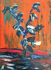 Thanos TSINGOS - Pintura - Seedling on Orange background