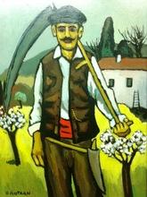 Henri AUTRAN - Pittura - le paysan à la faux
