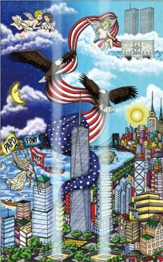 Charles FAZZINO - Print-Multiple - NYC... On eagles wings